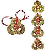 5 Set Chinesische Münzen Glücksmünze Feng Shui Münzen Glück Münze L-Ching Münzen mit Roter Schnur