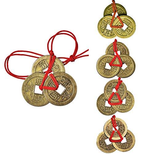 5 Juegos de Monedas Chinas Monedas de Fortuna Monedas Feng Shui Monedas de Suerte Monedas de I-ching con Cordel Rojo