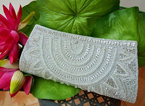 White Indian Wedding Bag   Beaded clutch Bag   Gift for lady love   Beaded Woman wallet bag - handmade-bags
