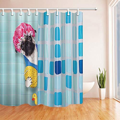 Support-200 Caps (gohebe Cartoon Hund mit Dusche Cap Gelb Ente 180x180cm Schimmelresistent Polyester Stoff Vorhang für die Dusche)
