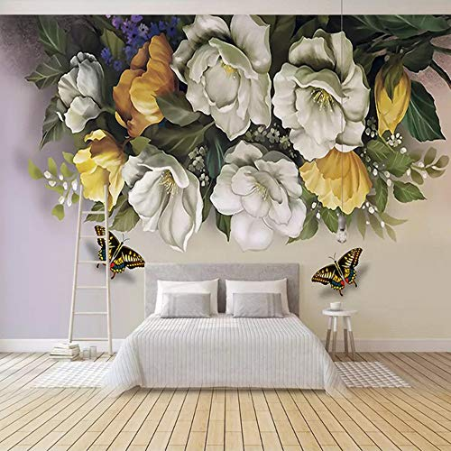 Mural Wallpaper Custom 3D Wallpaper Interior Decoration Living Room Bedroom Mural Wall Painting Flowers Butterflies Photo Wall Papers Home Decor-200X140CM (Paper Butterfly)