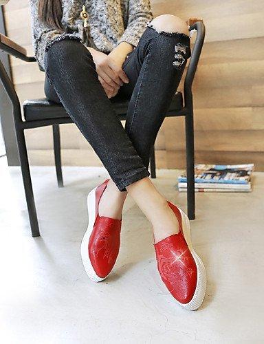 ShangYi gyht Scarpe Donna-Mocassini-Formale / Casual-Comoda / A punta-Plateau-Di pelle-Rosso / Bianco / Argento Red