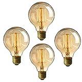 EDISON Glühbirne 60 Watt Vintage Leuchtmittel, 220 V E27 Sockel Warmweiß klar Anhänger Leuchtmittel 4 Stück G80/60w