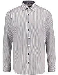 f90e44b7600b eterna Herren Langarm Hemd Modern Fit Classic-Kent-Kragen grau weiß  gestreift Patch