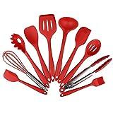 Küchenhelfer Set - Swify 10 Stück Premium Silikon Küchen Utensilien Set: 2 * Silikon Spachteln, 1 * Schneebesen, 1 * Spaghettilöffel, 1 * Suppenkellen , 1 * Silikon Pfannenwender, 1 * Suppenkelle, 1 * Schlitzlöffel, 1 * Grillzange, 1 * Silikon Pinsel