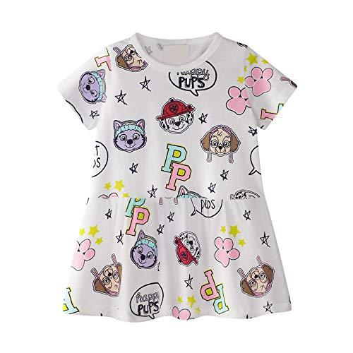 Kinder Mädchen Kleid Kurzarm Baumwolle Cartoon Tier Applique Brief Muster Kleid kleines Mädchen Baumwolle T-Shirt 1-8 Jahre Alt (Weiß) - Kleinkind-linie Kleid Muster