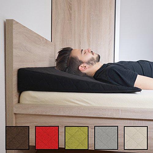 Salosan® Entspannungs- und Relaxkissen, Keilkissen für Bett/Couch/Liege/Sofa. Druckentlastendes Ruhekissen, Rückenkissen oder Beinkissen. Bettkeil Größe 90cm x 60cm Höhe 11cm Farbe: (Schwarz) Test