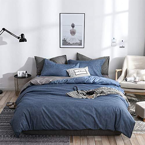UOUL Bettwäscheset 4 Teile Verblasst Nicht Komfort Einfarbig Dunkelblau Jugendschlafsaal Sommer Schlafzimmer Twin Queen,Navy,California King