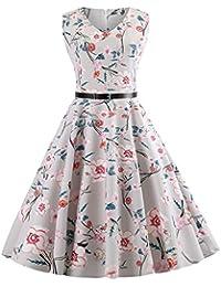 54210c426e01 Snowbuff Pieghe Abito Senza Maniche Vestito Vintage Anni 50 A-Line Stile  Strisce Arcobaleno Stampa
