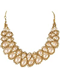 Zephyrr Fashion Gold Tone Beaded Handmade Pearls Necklace Jewellery For Women