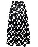 Runyue Donna Lungo Gonne alla Vita Abito retrò Chic Stile di Vintage al Collo di Polka Dots Casual Cocktail Vestito Nero M