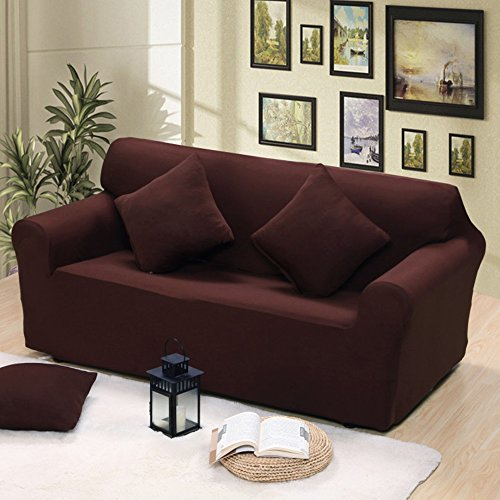 Rayinblue Sofa Cover 1 2 3 4 Seater Slipcover Easy Stretch Elastic Fabric Sofa Protector Slip Cover Washable 2 Seater M Chocolate Brown