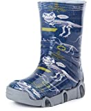 Ladeheid Botas de Agua Zapatos de Seguridad Calzado Unisex Niños Niñas SwkBW 27 (Azul Oscuro Dinosaur, 33/34)