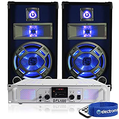 "2x Skytec Blue LED 10"" Disco PA Speakers + Amplifier + Cable DJ System 800W"