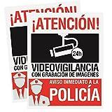Pack 2 carteles rígidos 15 x 19cm Atencion alarma conectada videovigilancia con grabación de imágenes Carteles disuasorios rígidos  Uso exterior  Cartel identificativo