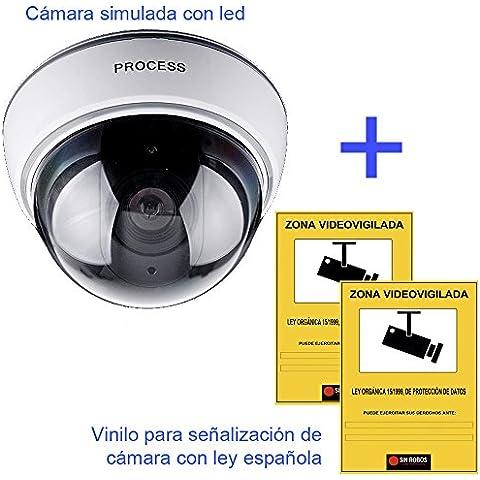Docliick®. Camara falsa vigilancia más regalo de 2 vinilo de cartel alarma casa que simboliza la presencia de cámara de seguridad. Camara falsa de seguridad Led – Camara simulada falsa.Modelo dome