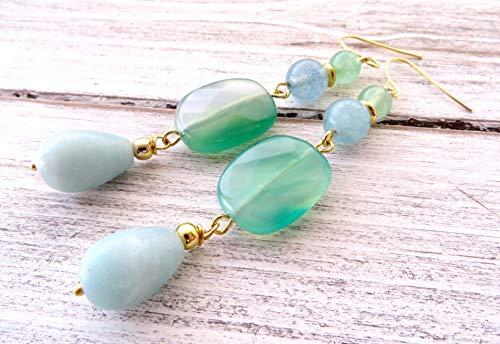 Orecchini con amazzonite azzurra e agata verde, pendenti con pietre dure naturali, gioielli turchesi, bijoux artigianali, regalo per lei