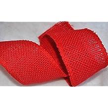 Nastro Queen post box Red iuta iuta filo bordo orlato cablato 50mm 5,1cm di larghezza, prezzo per 3m di Natale