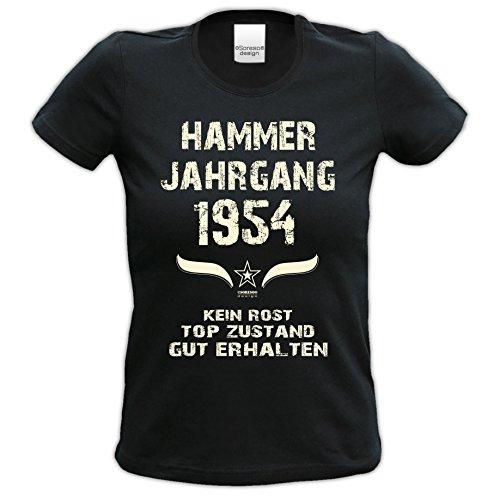 62.Geburtstag-Damen-Mädchen-Happy-Birthday Fun-Girlie-T-Shirt Geschenk mit Sprüche-Motiv: Hammer Jahrgang 1954 Farbe: schwarz Schwarz