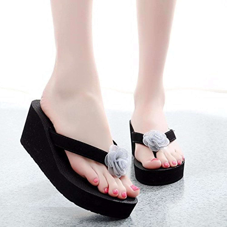Espesor de llevar adelante la arena zapatillas. Y Flip Flops moda flor coole zapatillas., UE38, Gris,