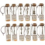 12Pcs Transparent Mini Glass Jars with Cork Stopper and Inside Punk Pendants