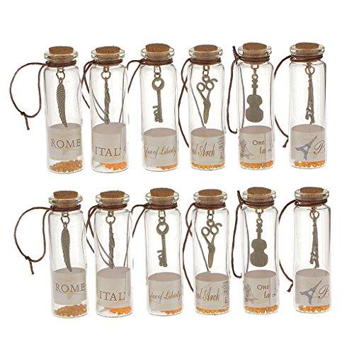 12pcs Colgante de Suerte Mini Tapón Corcho de Botella Transparentes e