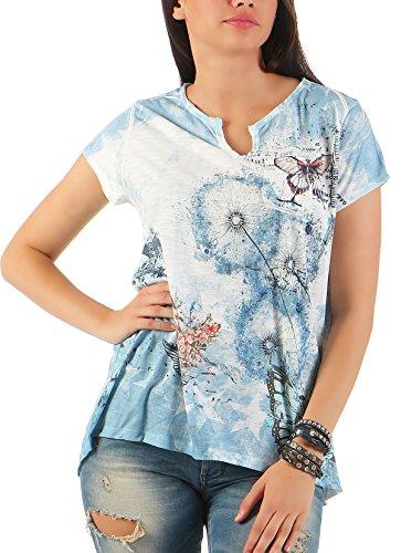 Malito Damen T-Shirt mit Print   Shirt mit V-Ausschnitt   Sportliches Oberteil - Top - Basic 7296 (Blau)