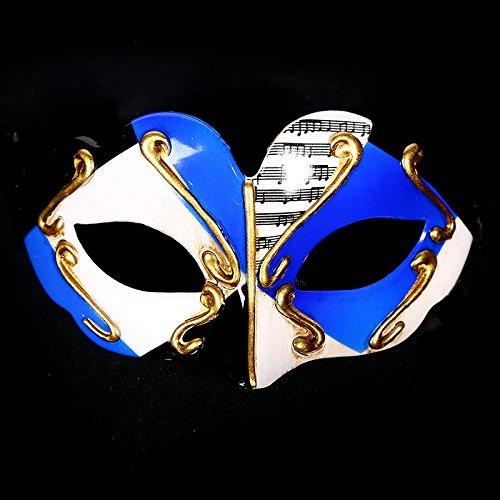Maskerade Flache Gesicht Half Face Geschnitzte Musik Party Maske (blau) ()