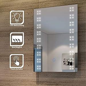 SONNI Spiegel mit Beleuchtung Energiesparend LED Licht Badezimmer Wandspiegel Beschlagfrei Badezimmerspiegel mit Sensor-Schalter 50 x 70 cm