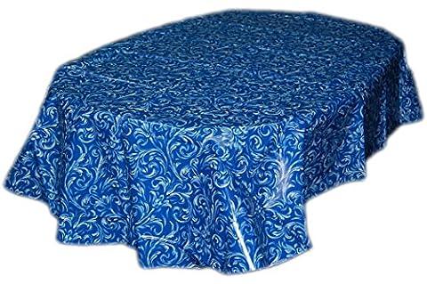 Wachstuch TISCHDECKE abwaschbar oval 140x180 cm Ranken Blau GARTENtischdecke KÜCHE Esszimmer Made in Germany (Königsblau Tischdecke)