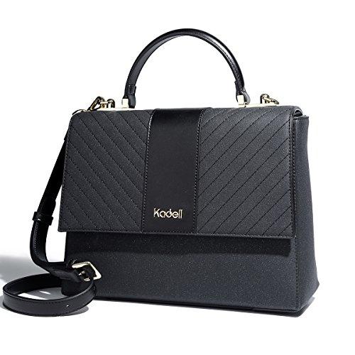 Kadell Frauen PU Matte Leder einfache Geldbörse und Handtasche Klappe Crossbody Tasche Schwarz (Cross-body-klappe)