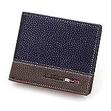 Internet Carte Bifold titulaire portefeuille porte-monnaie en cuir de hommes 11.6cm * 9.6cm * 2.2cm (Bleu)