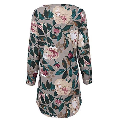 Minetom Damen Casual Lose Blumen Floral Kleider mit Blüte Drucken Rundkragen Langarm Kurzarm Sommerkleid Abendkleid Partykleid Strandkleid Langarm