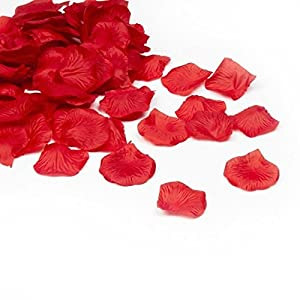 Shatchi 11614-ROSE-PETALS-RED-500 5000 - Confeti de pétalos de rosa de seda para boda, aniversario, día de San Valentín, decoraciones al por mayor (50 x 100 unidades)