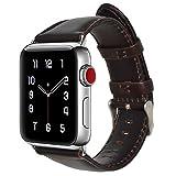 #6: Globus Geschaft Leather Watch Strap Replacement for Apple Watch Series 3 Series 2 Series 1, Dark Brown Apple Watch Band 42mm