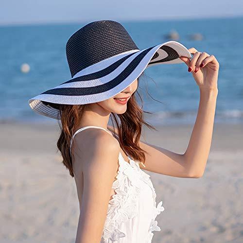 Beachwear-Sonnenhut für Damen Striped Straw Hat Floppy Big Brim Hat,Black