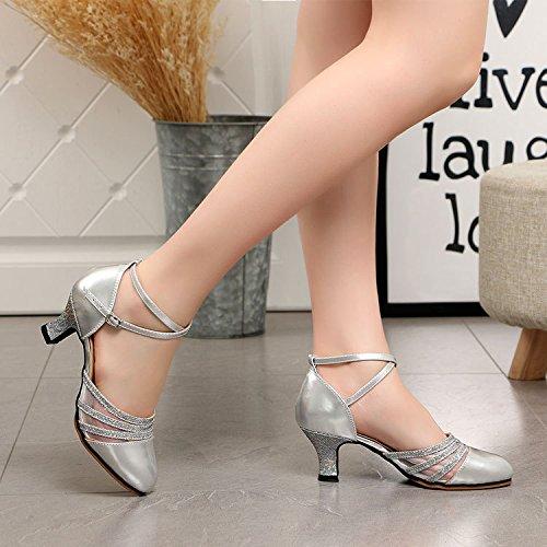 DGSA Square Dance Shoe_Latin Dance Shoe Buchsenleiste mit modernen sozialen Frühjahr und Herbst square niedrig mit weichem Boden Silber innen Bgf