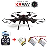 JZK® Syma X5SW drone RTF WiFi FPV with HD camera + 3 batteries, plane helicopter aircraft toy, best Christmas gift for kid boy man, Black from Syma