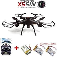 JZK® Syma X5SW Drone RTF WiFi FPV HD cámara, con 3 baterías, negro