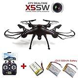 JZK® Syma X5SW Wifi FPV Video Live Kamera Drohne QuadroCopter RC RTF UFO Drone + Extra 2pcs Li-po Akkus Batterie 3.7V 600mAh (Versand aus deutschland) (schwarz)
