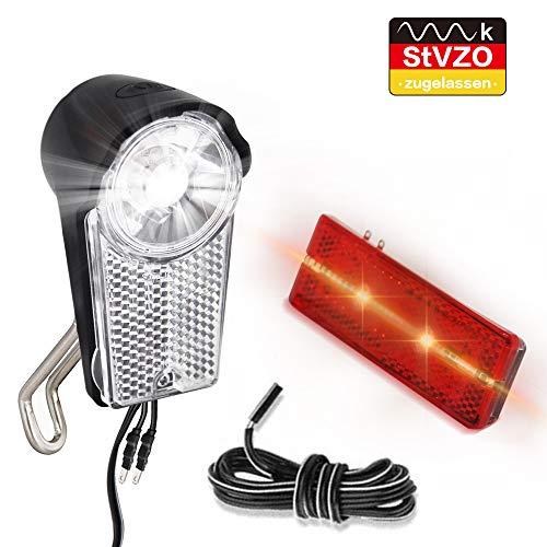 LIFEBEE LED Fahrradlicht Set, Frontscheinwerfer Dynamo StVZO Zugelassen Fahrradlicht Batterieleuchtenset IPX5 Wasserdicht Fahrradlampe Frontlicht/Rücklicht mit Schalter(Doppel-Lichtkabel enthalten)