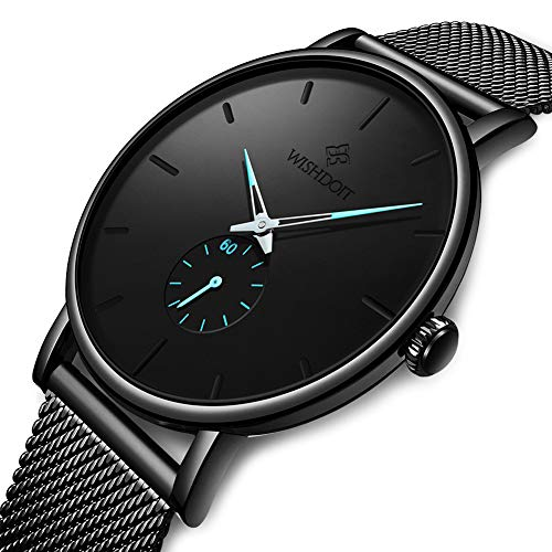 WISHDOIT Herren Uhren Minimalistischen Wasserdicht Männer Armbanduhr Mode Elegant Geschäft Schwarz Quarz Herrenuhr für Mann mit Edelstahl Mesh Armband