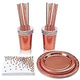 aovowog 40 Pack Doré Rose Vaisselle de Fête Assiettes en Papier d'aluminium de Service de Table en Papier d'aluminium décoré de Roses pour Les invités Tasses pailles pour Mariages Anniversaires