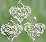 Fensterbild Herz mit Rosen 3 Stück Größe je 15 x 18 cm weiß