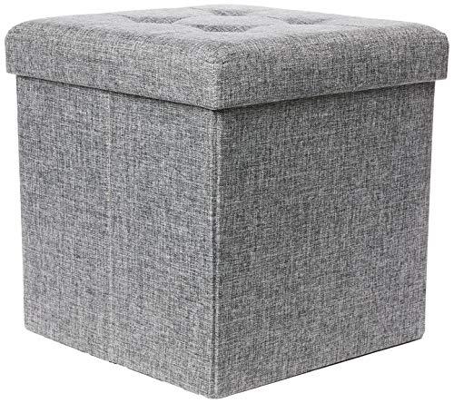 Relaxdays Faltbarer Sitzhocker, Sitzcube als Fußablage, Sitzwürfel aus Leinen, Deckel zum Abnehmen, 38x38x38 cm, grau -