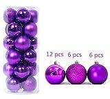 6CM 24 Stück Violett Weihnachtsdekoration Ball Dekoration Ball Weihnachtskugeln plastik Bälle Für Hausdekoration Tannenbaum Schmuck Weihnachten Deko Anhänger Christbaumkugeln Kunststoff