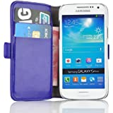 Samsung Galaxy S4 Mini, JAMMYLIZARD Luxuriöse Ledertasche Flip Cover, BLAU