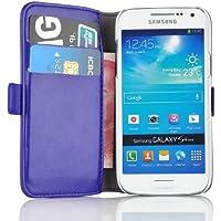 Samsung Galaxy S4 Mini, JAMMYLIZARD Luxuriöse Ledertasche Flip Cover, BLAU