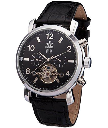 SEWOR Mens Tourbillon Automatic Self Wind Wrist Watch (Black)