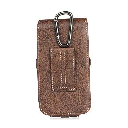Premium Leder Vertikale Telefon Gürtel Holster Tasche mit Gürtelschlaufe Karabiner Clip Dark Coffee für 4,7 - 6,3 Zoll ( Color : Dark Coffee 5.5 ) Dark Coffee 6.3